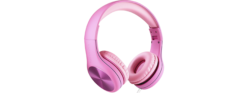 Explore Foldable Model: Foldable Detachable Cable built in headphone splitter 2 Pack Kids Headphones by Onanoff for iPad super durable Pink volume limiting lock Blue comp housing adjustable In Line Mic