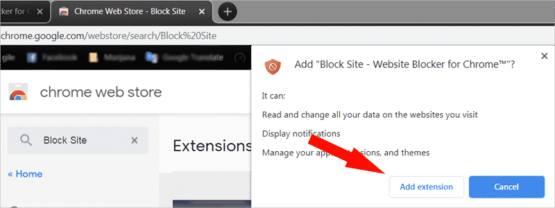 how to block websites on chrome 4a