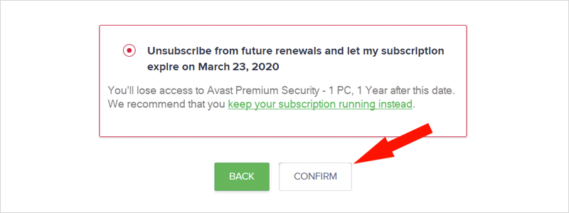 how to cancel avast subscription 7