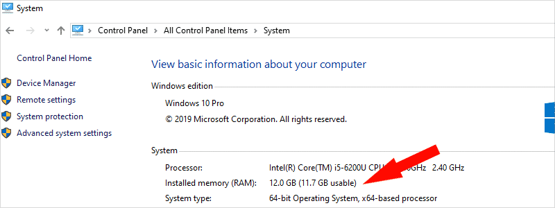 how to check ram on windows 10 12