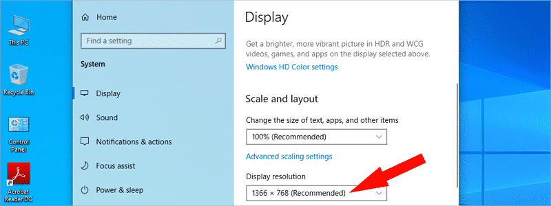 how to check screen resolution on windows 10 5