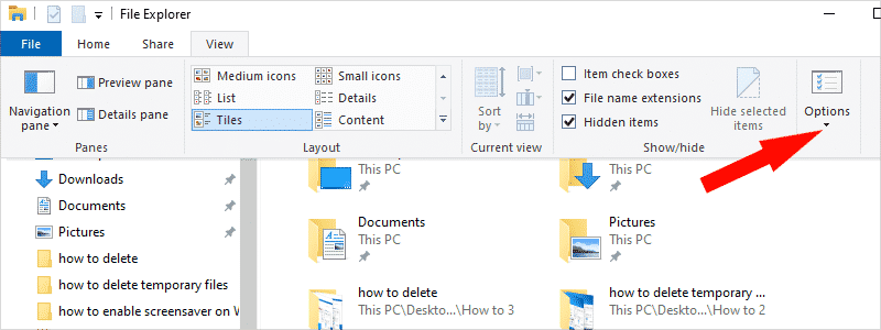how to show hidden files in windows 10 c