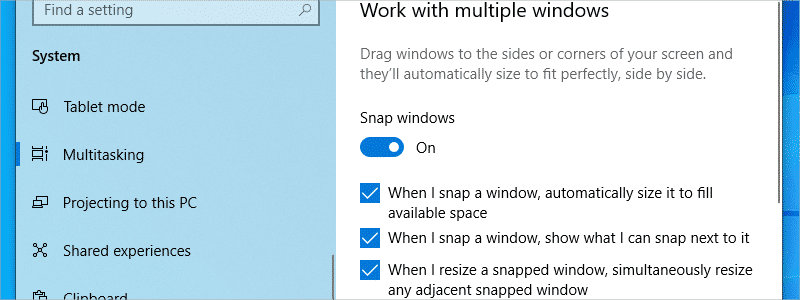 how to split screen on windows 10 e