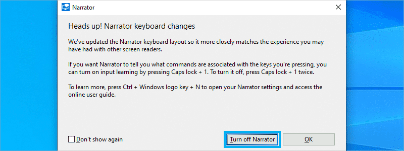 how to turn off narrator on windows 10 b